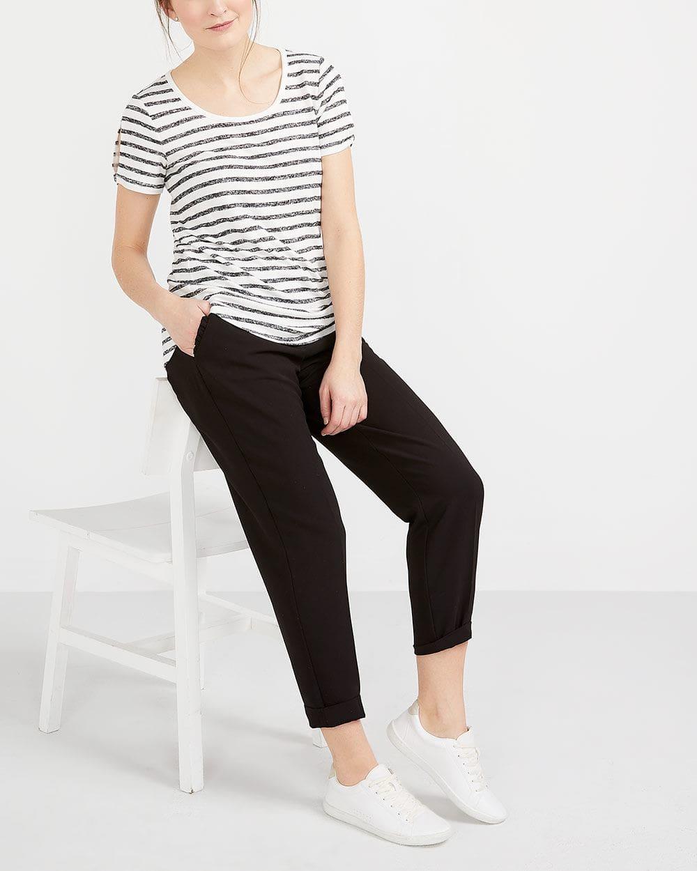 Printed Slit Sleeve T-Shirt