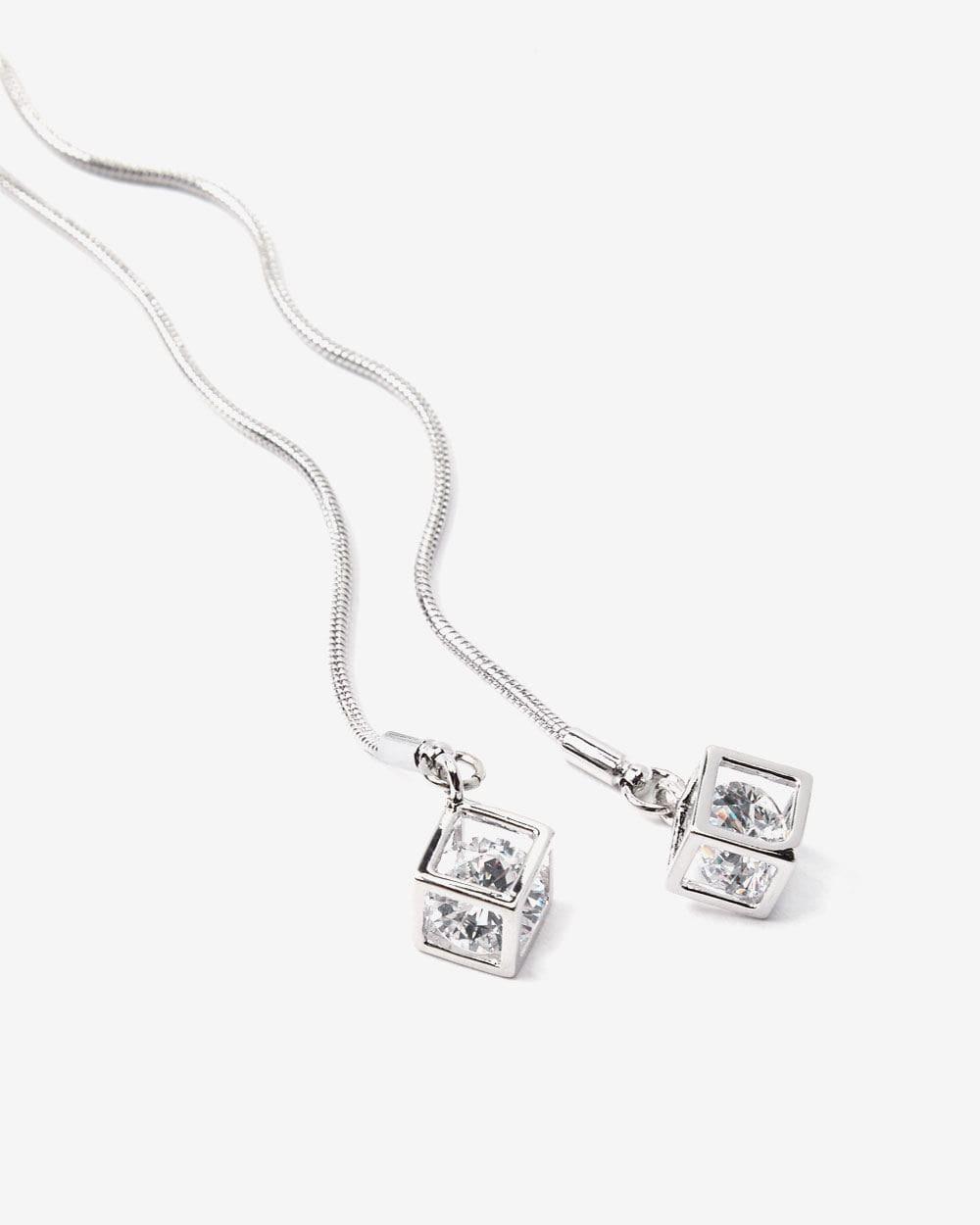 Cube Pendant Long Necklace