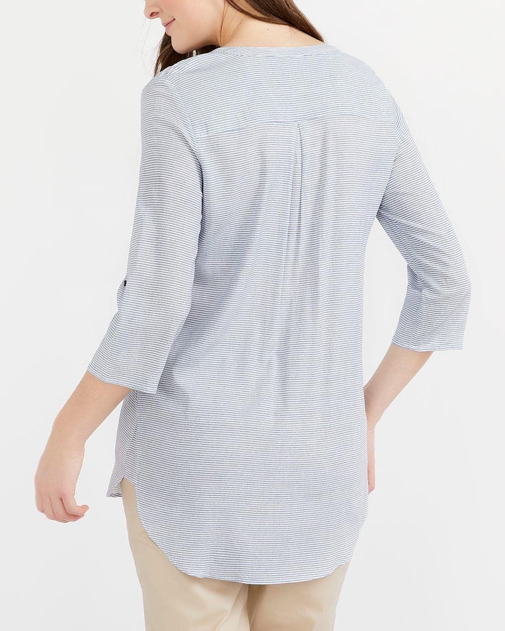 Shirred Detail Printed Tunic Shirt