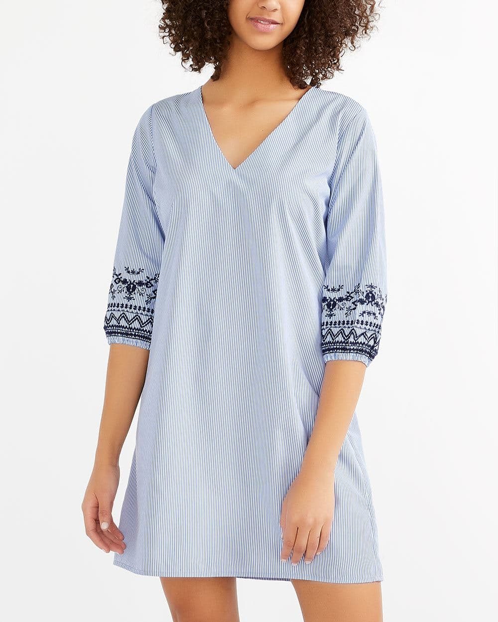 Embroidered ¾ Sleeve Printed Dress