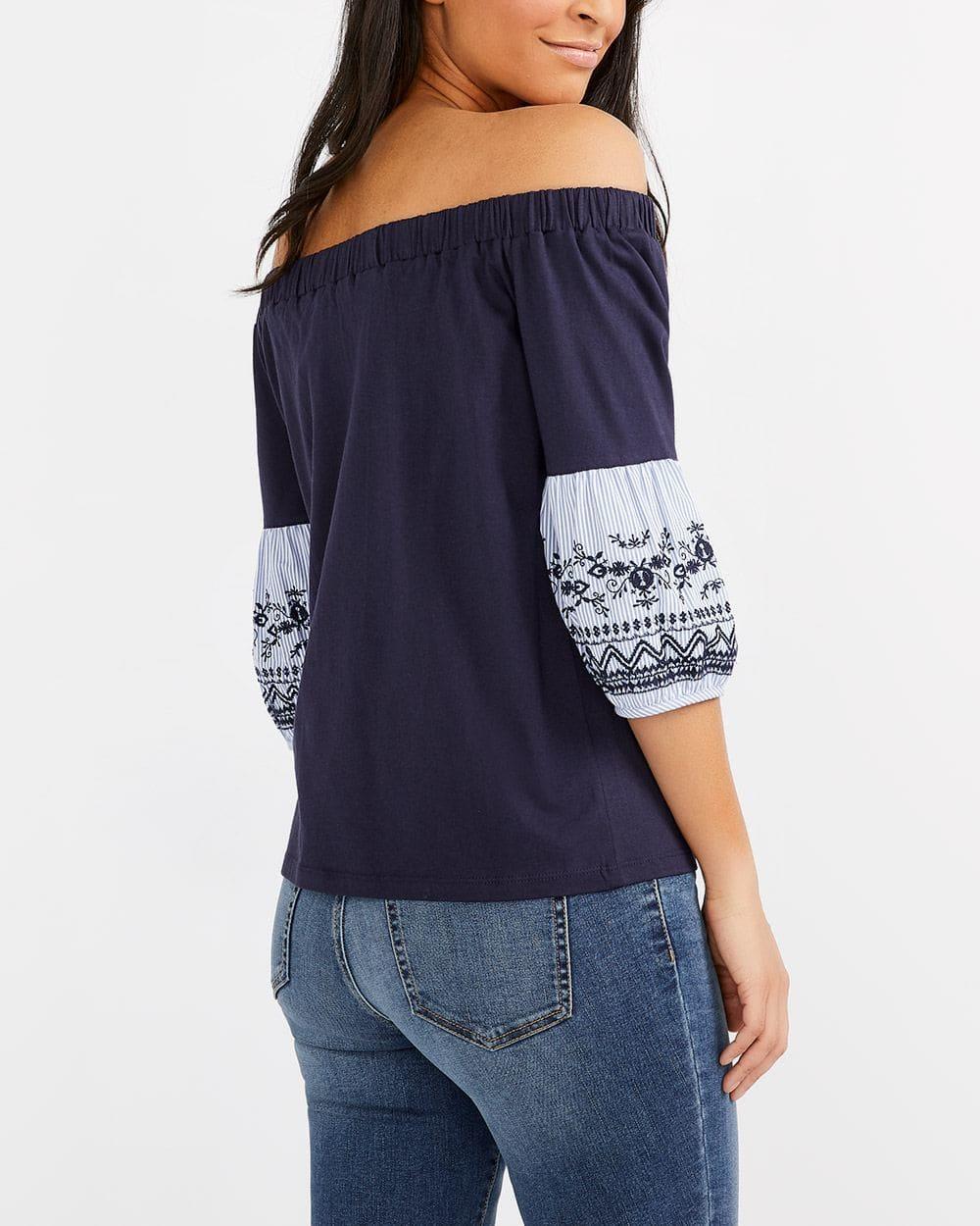 Embroidered Cold-Shoulder Top