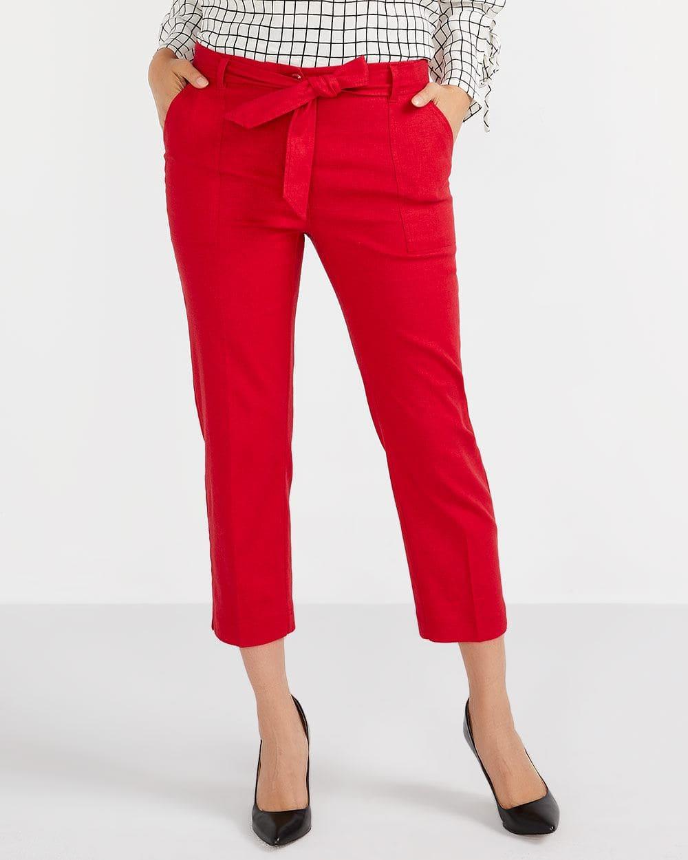 Linen Blend Cropped Pants