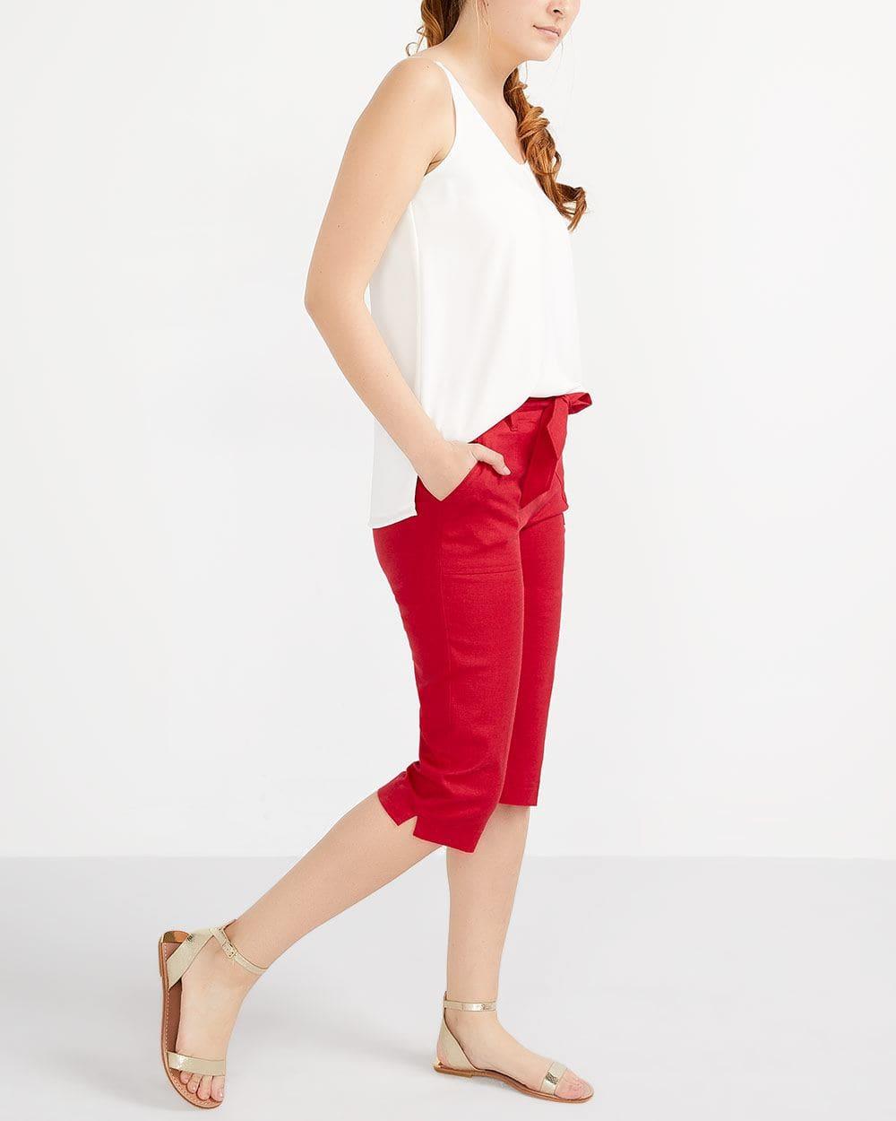 Petite Linen Blend Capri Pants