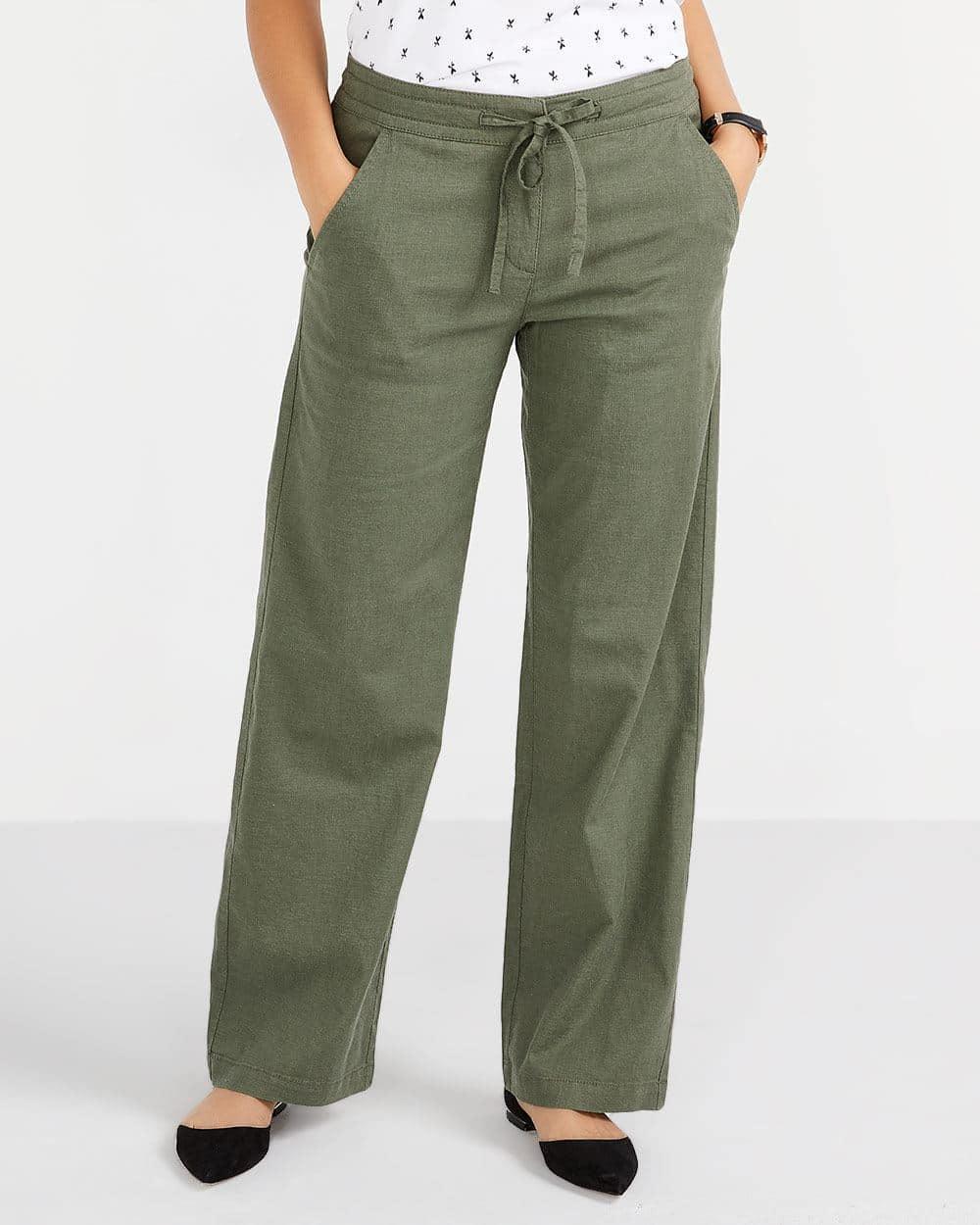 Pantalon ample en mélange de lin Petite