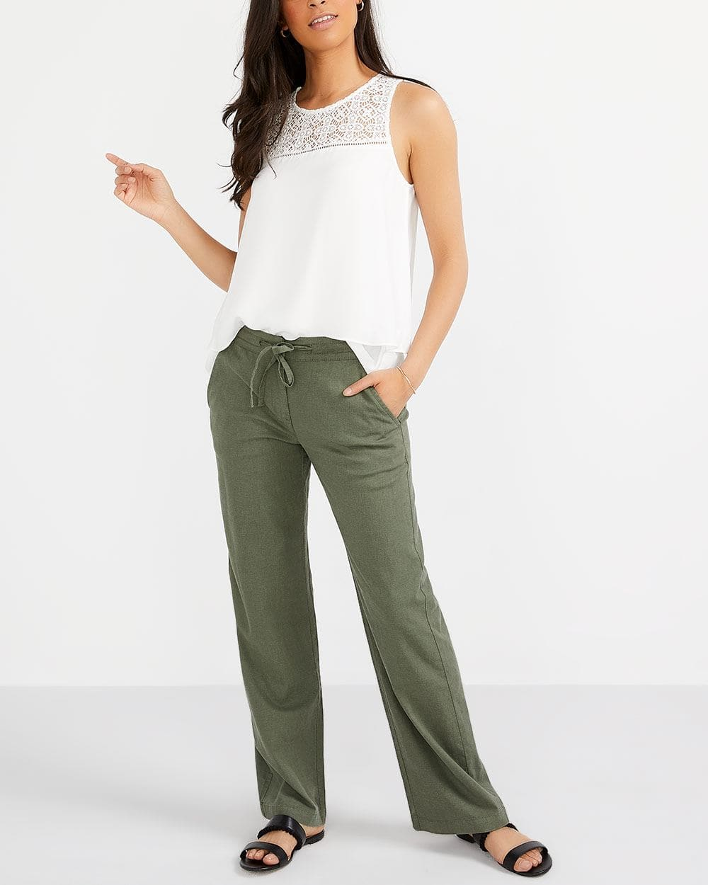 Pantalon ample en mélange de lin Long