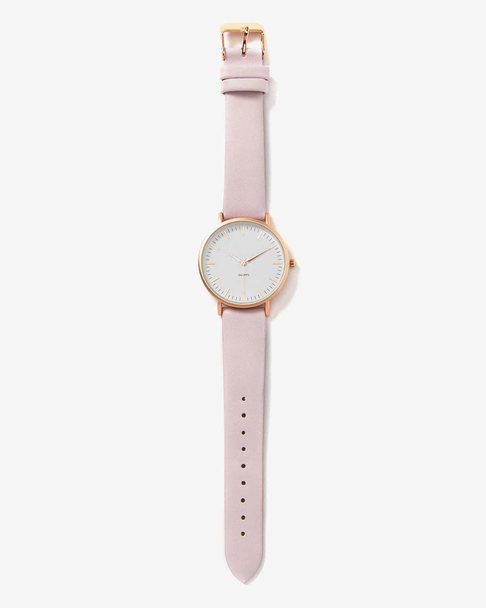 Montre-bracelet rose et dorée
