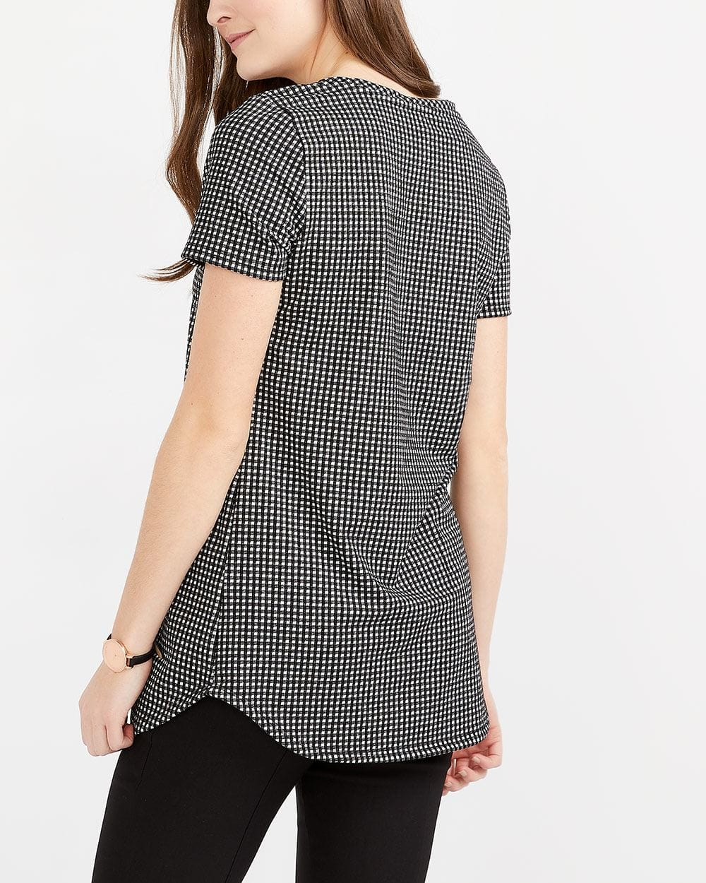Patch Gingham Tunic Top