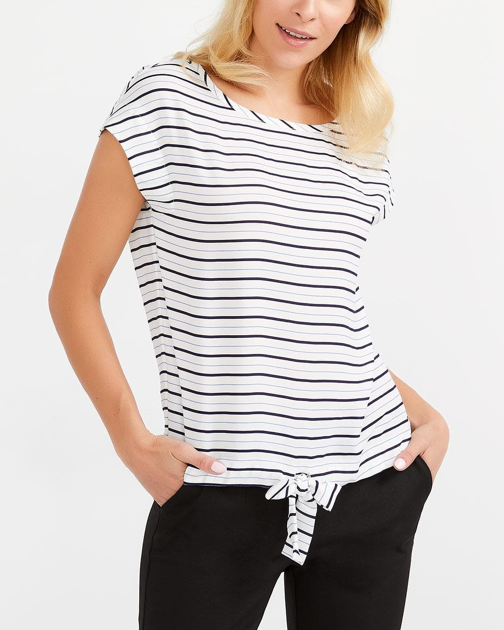 Willow & Thread Drawstring Striped Blouse