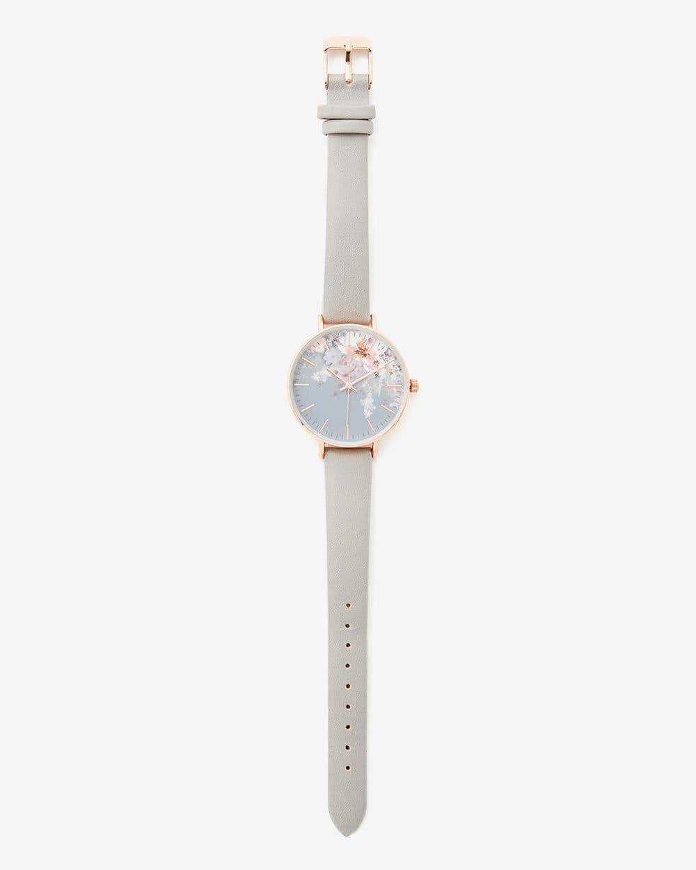 Montre-bracelet grise à motif floral