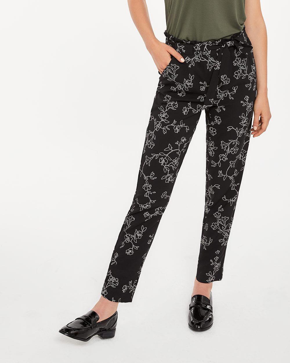 Pantalon à la cheville imprimé à taille froncée Long