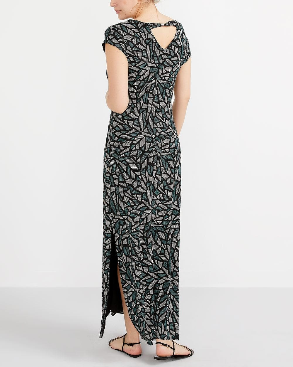 Printed Maxi Dress with Cap Sleeves