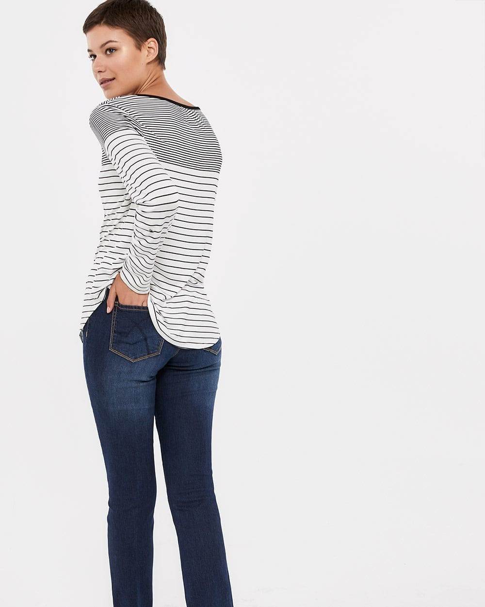 Roll-Up ¾ Sleeve Printed Top