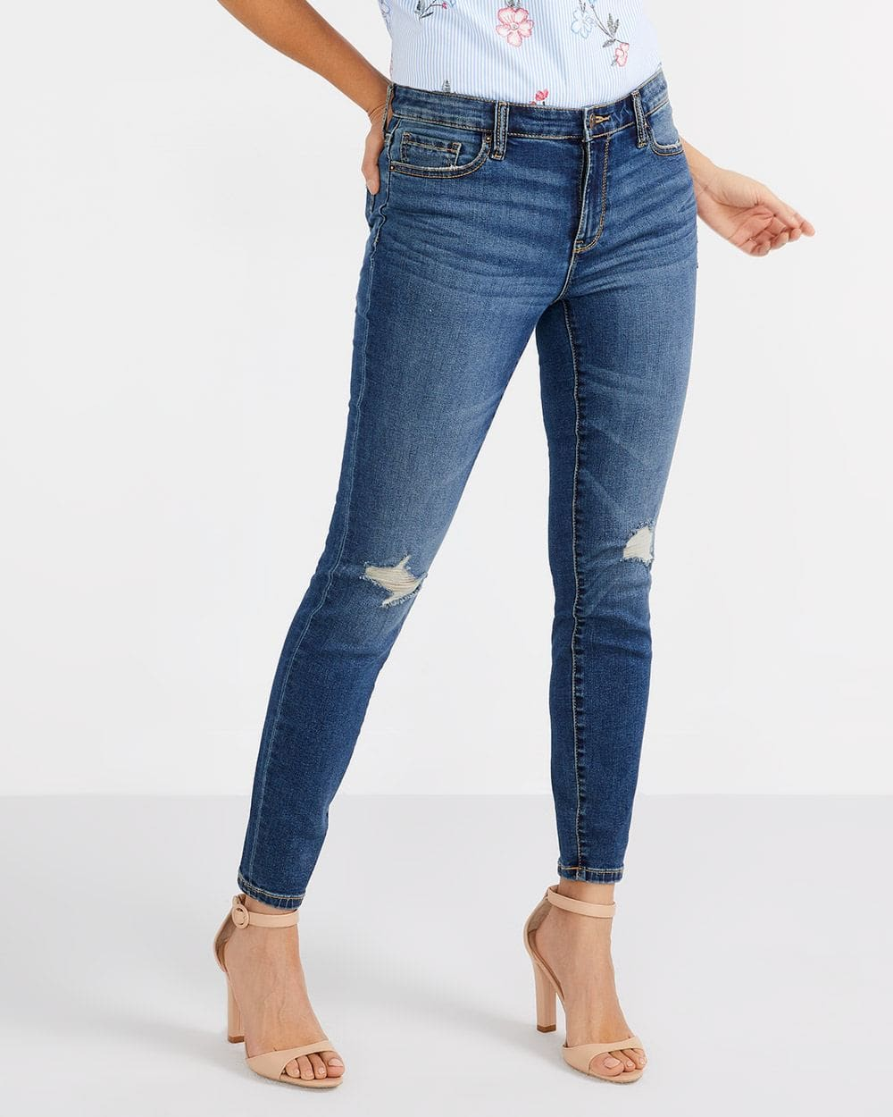 Jeans skinny déchiré Long