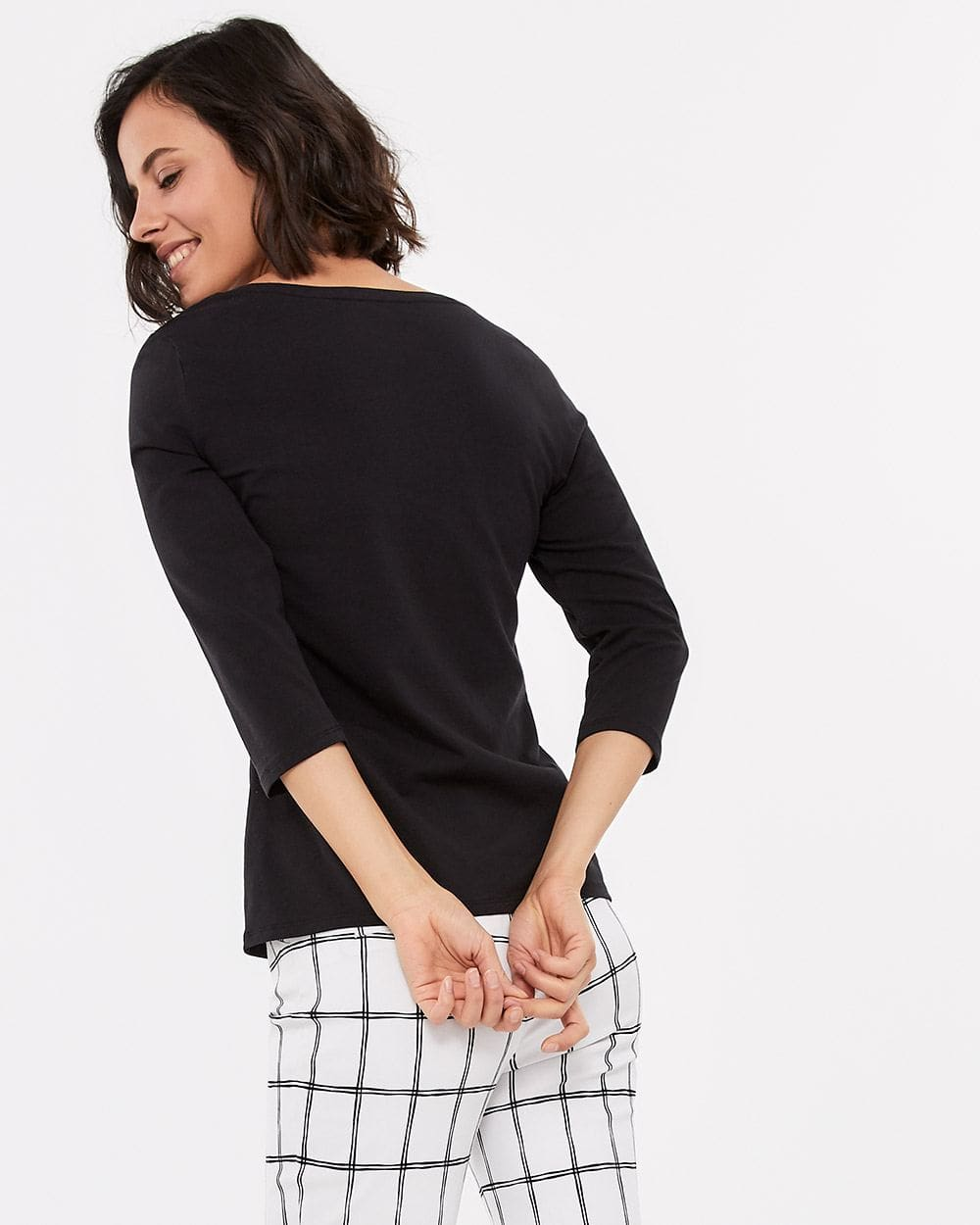 R Essentials ¾ Sleeve Solid Top