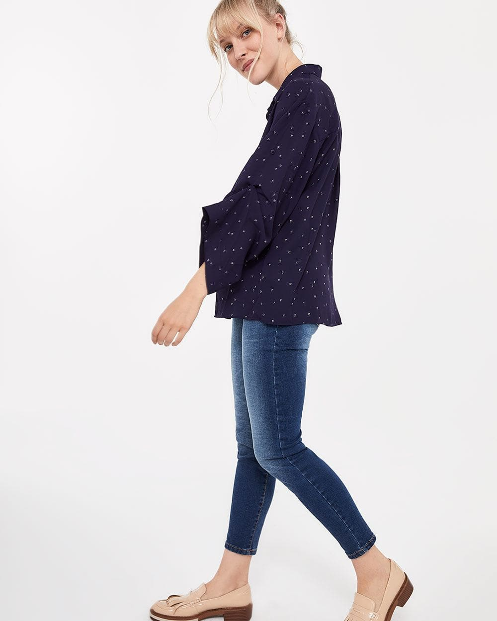 Blouse with Oversized ¾ Sleeves