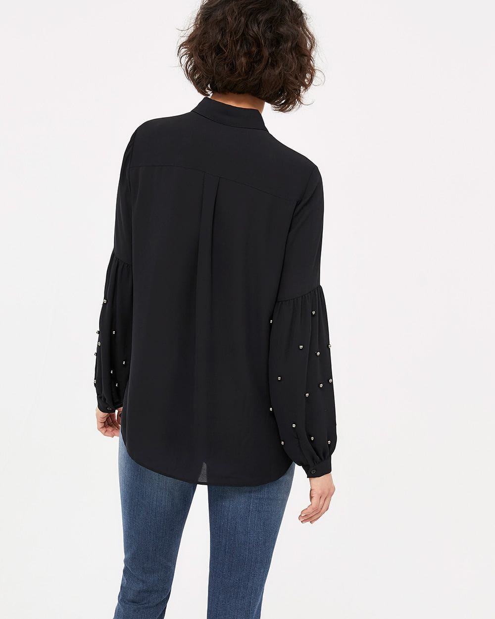Blouse with Beaded Balloon Sleeves