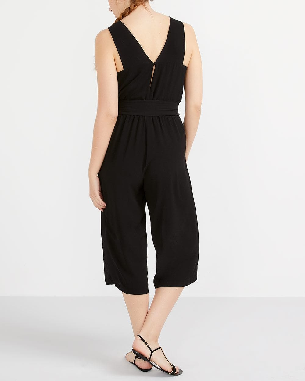 Cropped Jumpsuit with Sash