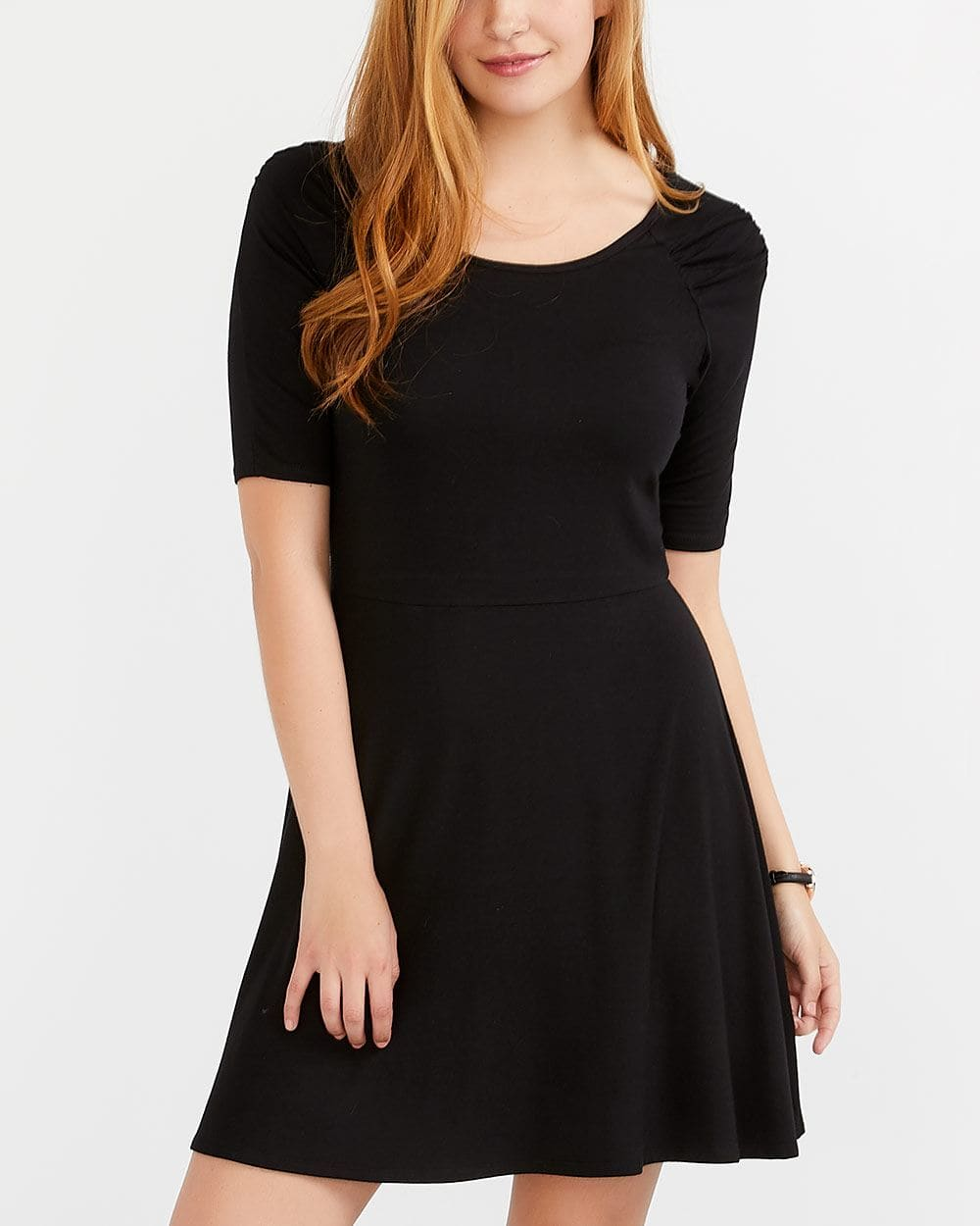 Ruched Raglan ¾ Sleeve Dress
