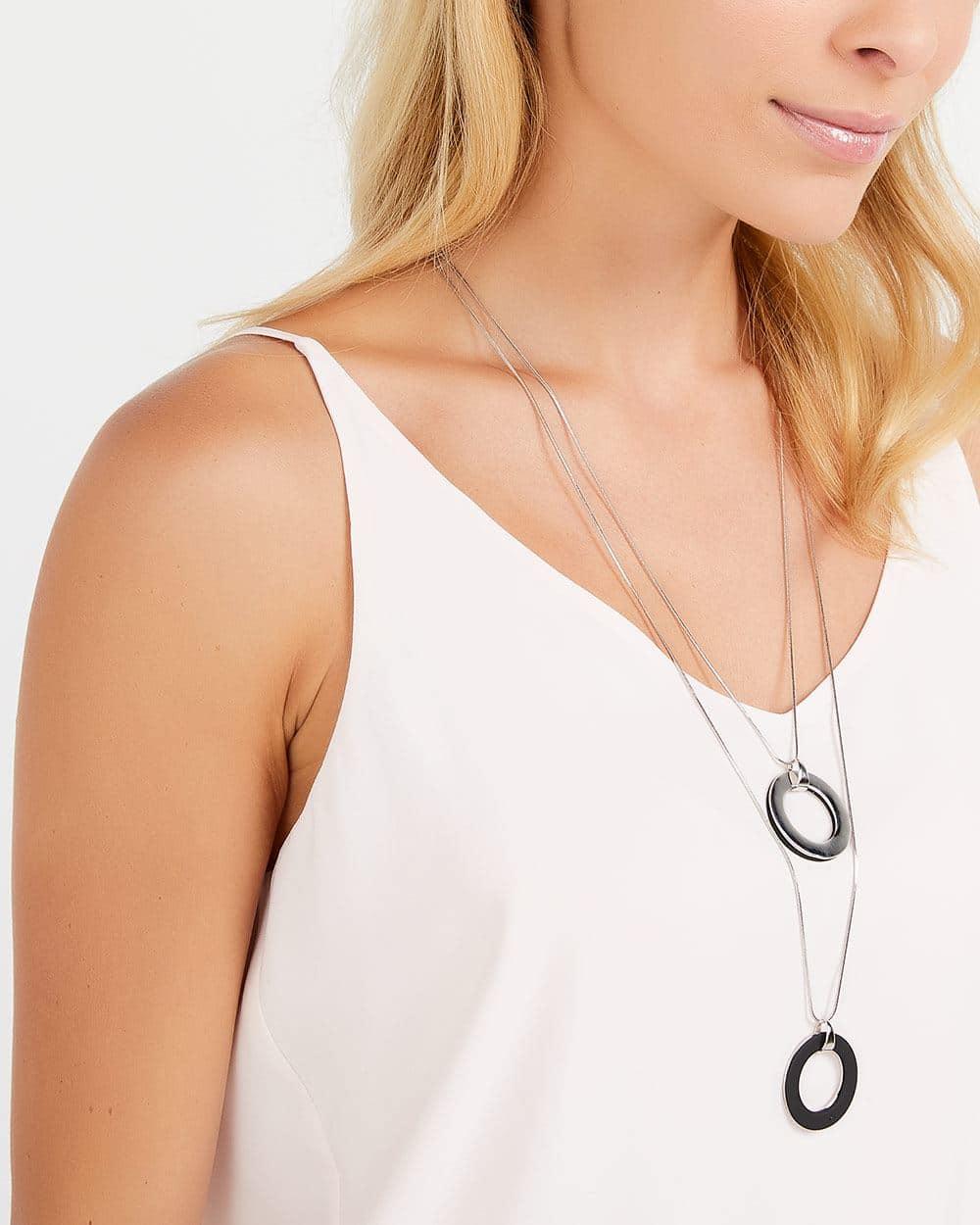Double Pendant Long Necklace