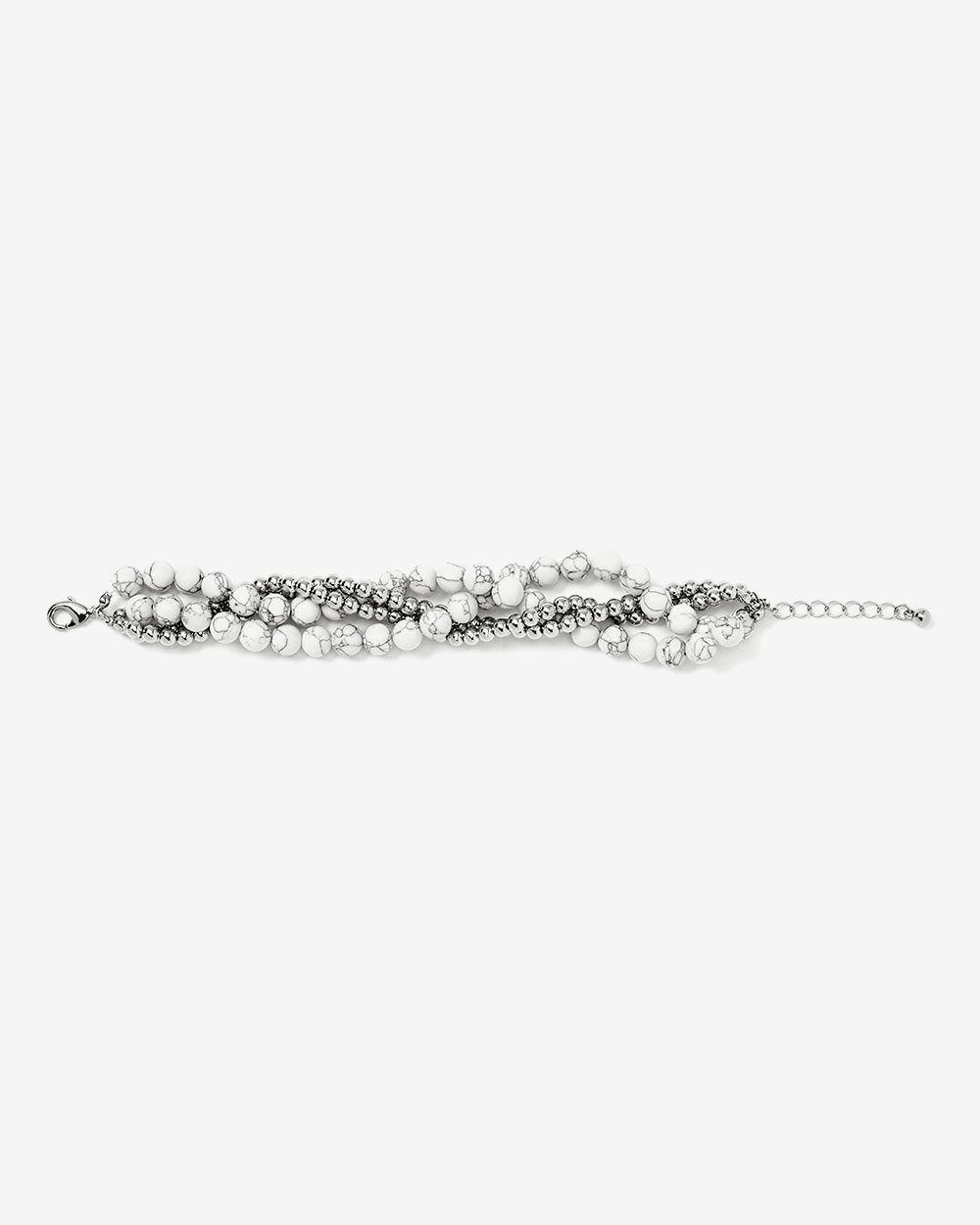 Bracelet à 4 rangs avec billes marbrées