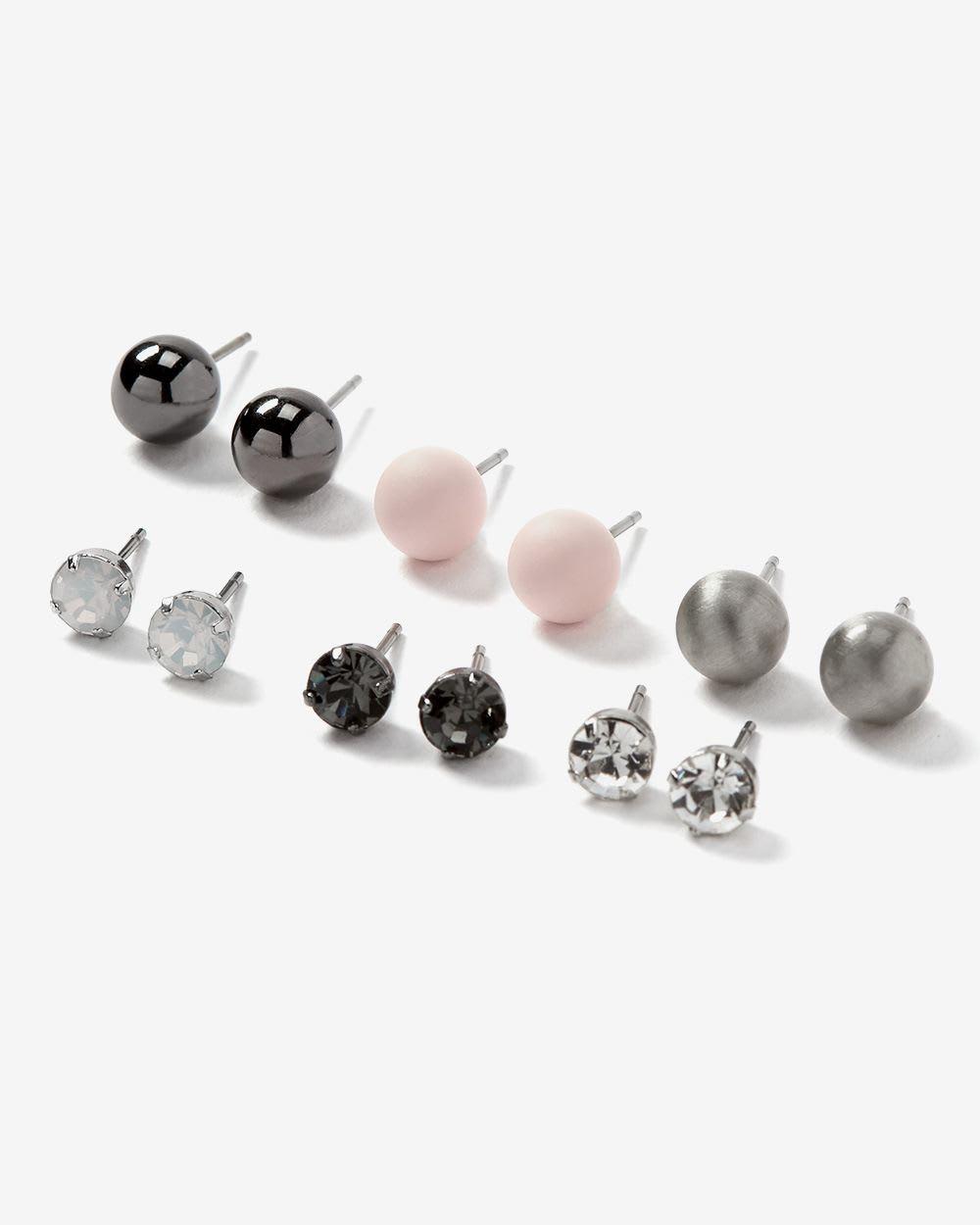 6-Pair Set of Stud Earrings