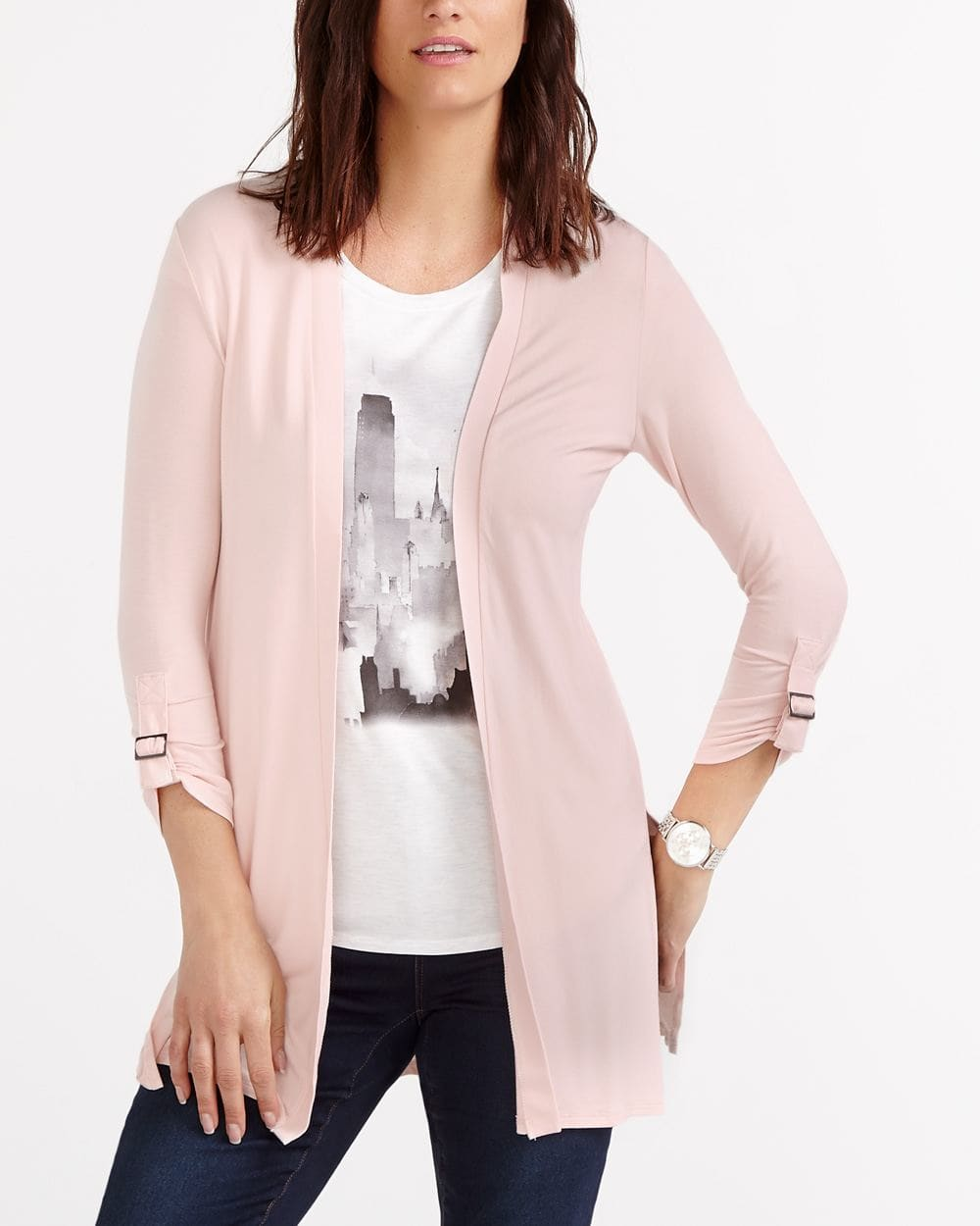 Open Cardigan with Adjustable Sleeves