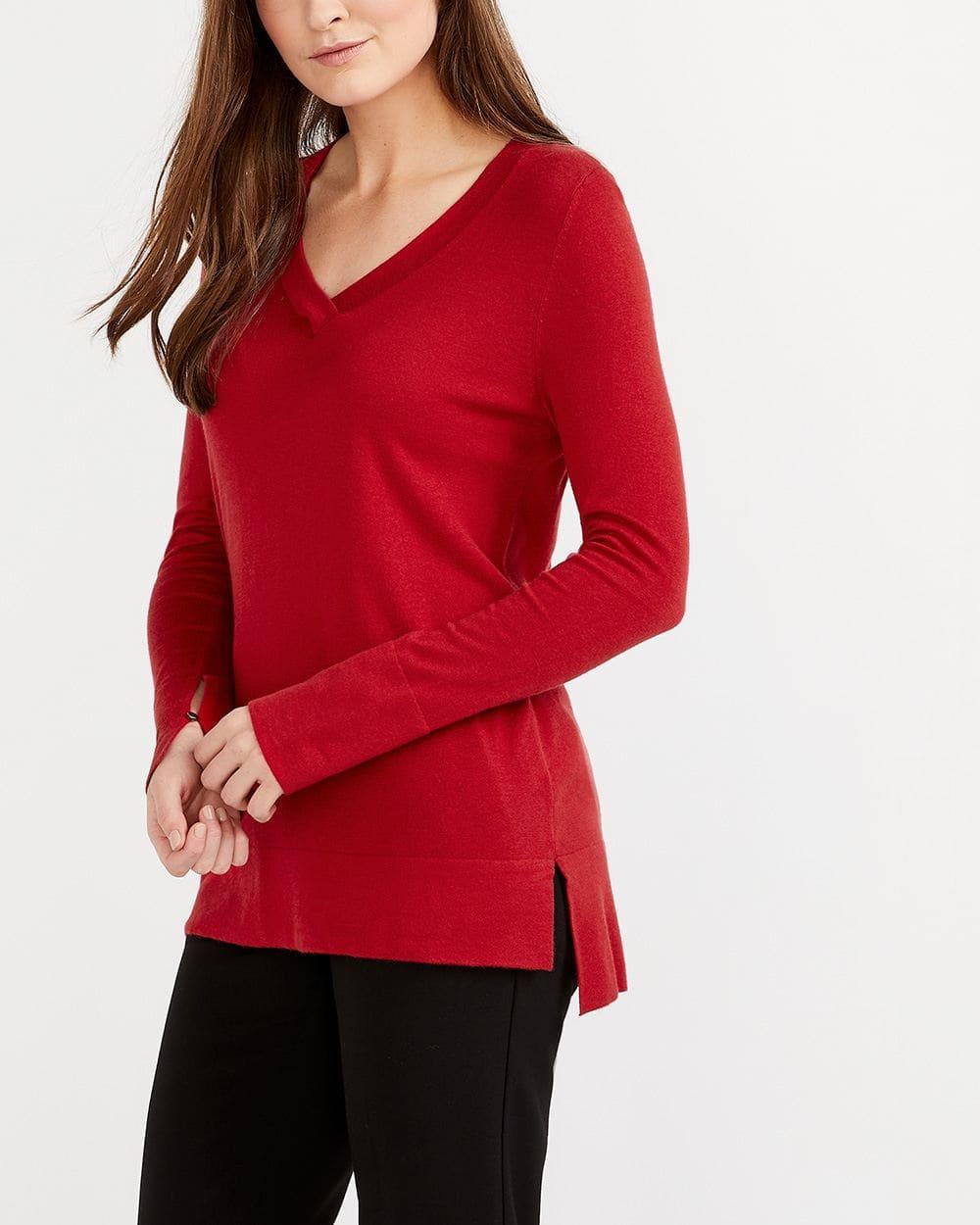 R Essentials Solid V-Neck Sweater