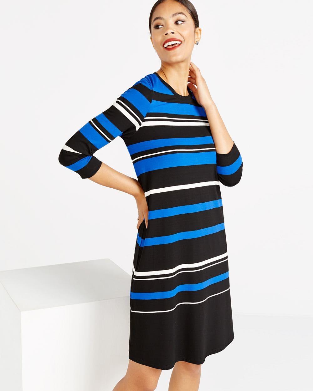 ¾ Sleeve Striped Swing Dress