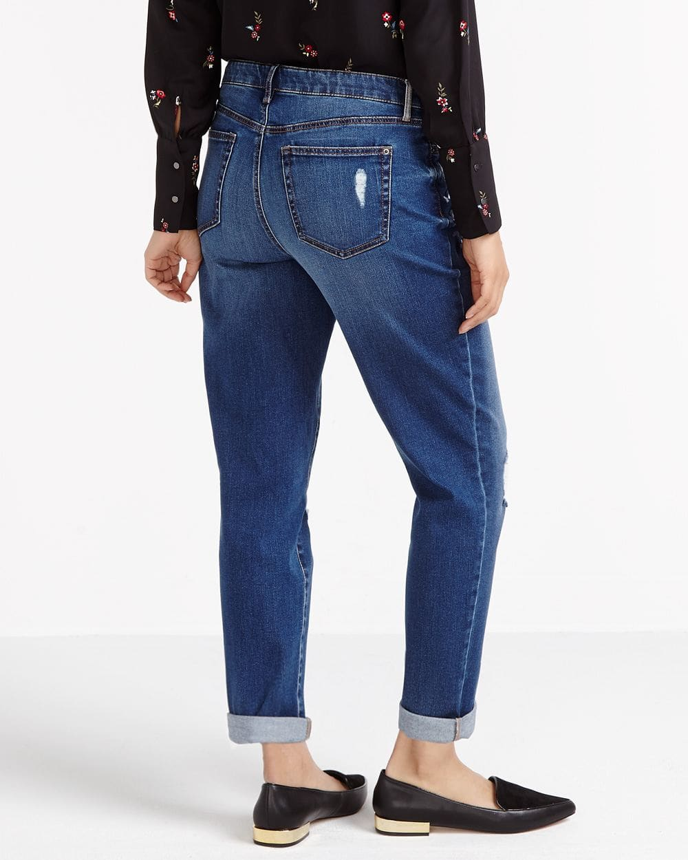 Straight Leg Embroidered Ripped Jeans