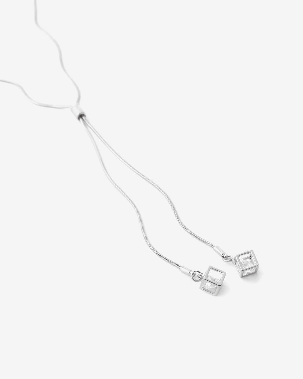 Double Cube Pendant Long Necklace
