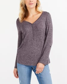 Adjustable Sleeve Solid Henley Top