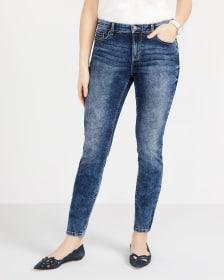 Zip Hem Marble Wash Skinny Jeans