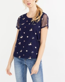 Mesh Short Sleeve Embroidered Top