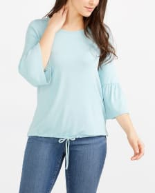 ¾ Bell Sleeve Solid Top