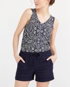 Linen Blend Solid Shorts