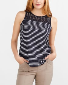 Sleeveless Crochet Striped Top