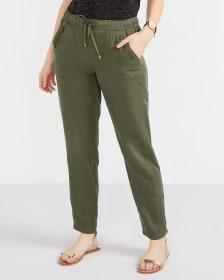 Pantalon à jambe droite et taille élastique Petite