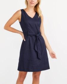 Willow & Thread Belted Linen Blend Dress