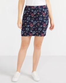 Elastic Waistband Printed Skirt