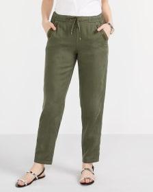Pantalon à jambe droite et taille élastique Long