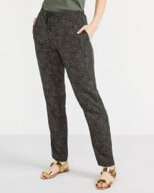 Pantalon skinny imprimé à taille élastique