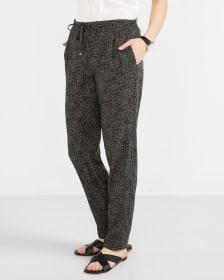 Petite Printed Skinny Pants with Elastic Waist