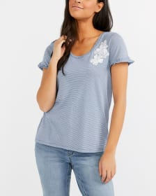 Applique Striped T-Shirt