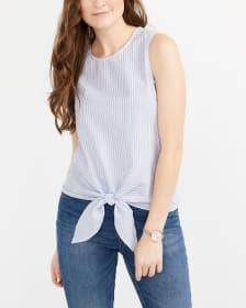 Sleeveless Big Tie Striped Blouse