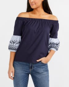 Embroidered Cold-Shoulder Top