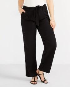 Pantalon ample uni à ceinture agencée