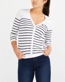 R Essentials 3/4 Sleeve Striped Cardigan