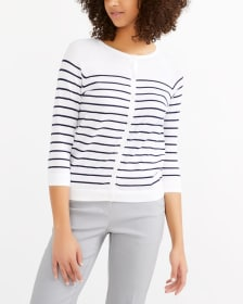 R Essentials ¾ Sleeve Effortless Striped Cardi