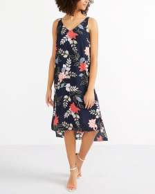 Sleeveless High-Low Hem Printed Dress