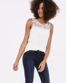 Sleeveless Lace Yoke Top